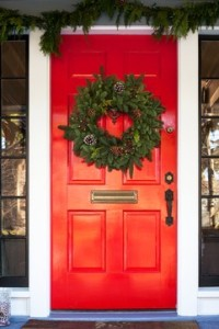 Christmas Wreath on a Red Door